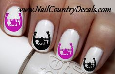 50 pc Purple N Black Barrel Racing Horse N Horse Shoes Nail Decals Nail Art Nail Stickers Best Price NC328