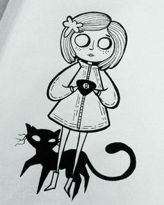 Coraline and cat tattoo drawings coraline Coraline Tattoo Coraline Tattoo, Coraline Art, Tim Burton Kunst, Tim Burton Art, Halloween Drawings, Halloween Art, Cute Halloween Tattoos, Cartoon Kunst, Cartoon Art