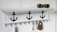 Key Holder Wall Shelf Rustic Wood Handmade Wall Mounted 18 inch with Nautical Boat Anchors Distressed White Finish