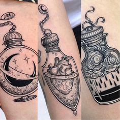 sara rosa on P O T I O N S Inspired on lozzybonestattoo Wich one do you like the most 2 or 3 .Unfortunately a few days ago my cell Neue Tattoos, Body Art Tattoos, Small Tattoos, Sleeve Tattoos, Cool Tattoos, Tatoos, Arabic Tattoos, Gypsy Tattoos, Spooky Tattoos