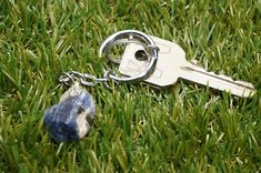 Natural Sodalite Keychain Healing Crystal Accessories Zodiac Mineral Stone, Crystal Healing, Minerals, Zodiac, Pendants, Personalized Items, Chain, Crystals, Metal