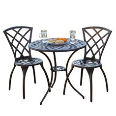 Cast Aluminum Copper Bistro Set - Enjoy bistro-like ambience with the Cast Aluminum Copper Bistro Set . This set includes an aesthetically designed pair of chairs and a table, with a...