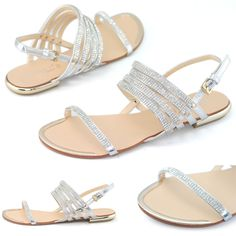 womens sexy wedding flats silver shoes strappy party dress sandal new size us 8 #LARAs #StrappyAnkleStrapsSlingbackFlatsSandals #Partypromweddingbridalbridesmaidbeach