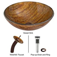 Vigo Glass Vessel Sink in Amber Sunset with Waterfall Faucet Set in Oil Rubbed Bronze-VGT021RBRND - The Home Depot