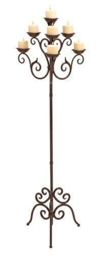 Deco 79 50237 Metal Candelabra, x Updated Traditional Rust Brown Finish Iron Candelabra Seven Light Scroll Design Standing Candelabra This product is made in China Floor Candelabra, Floor Candle Holders, Candle Stands, Metal Floor, Candle Lanterns, Home Decor Accessories, Candlesticks
