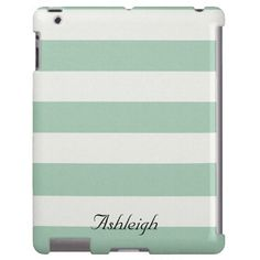 Mint and White Stripes iPad case