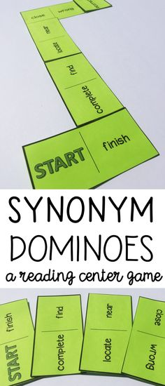 Synonym Dominoes Reading Center - Fun and engaging activity for building vocabulary and reading and understanding words with similar meanings.  2nd grade, 3rd grader, 4th grade centers #readingcenters