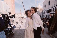 Lena Olin and Heath Ledger on the set of Casanova (2005).