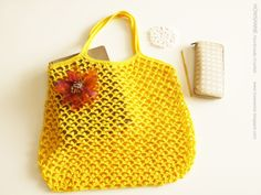 Crochet shopping mesh bag and tips on adding picot stitch