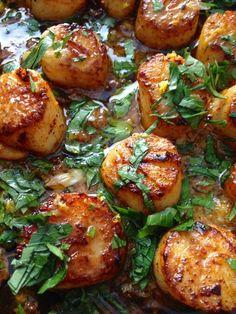 Golden Brown Cast Iron Pan Seared Garlic Scallops in Clarified Butter
