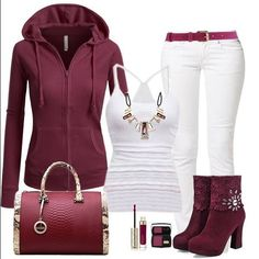 burgundy and white casual fall/winter outfit. Hoodie, jeans, t-shirt, ankle boots and purse