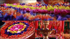 Use 99p flower garlands in garden mehndi plates idea