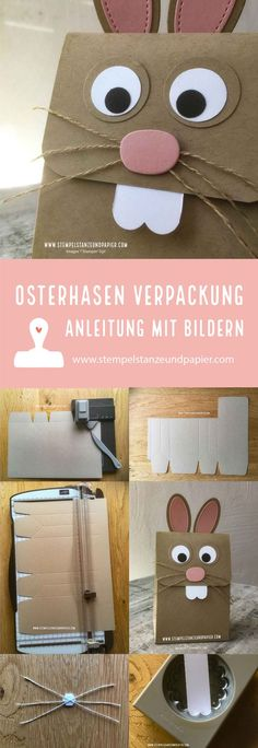 Easter Bunny packaging Stampin 'Up! - stamp, punch and paper Osterhasen Verpackung Stampin' Up! – Stempel, Stanze und Papier Easter Bunnies Packing Stampin & # Up! – stamp, punch and paper - Diy Gift Box, Diy Box, Diy Gifts, Diy Paper Bag, Paper Gifts, Easter Gift, Easter Bunny, Stampin Up Ostern, Spring Decoration
