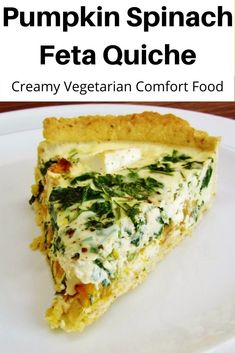 This creamy pumpkin spinach and feta quiche is a great way to use up any leftover pumpkin. Deliciously creamy but packed with healthy vegetables too! A real comfort food recipe. Vegetarian Options, Vegetarian Recipes, Vegetable Recipes, Vegetarian Dinners, Healthy Meals, Healthy Recipes, Spinach Feta Quiche, Vegetarian Quiche, Pumpkin Recipes