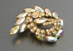Rainbow Aurora Borealis Vintage Rhinestone Swirl Brooch | eBay