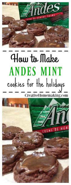 christmas cookies mint Weihnachtspltzchen These Andes Mint cookies are really easy to make and great to give away as gifts for the holidays. Share them at a Christmas cookie exchange! Christmas Deserts, Holiday Desserts, Holiday Cookies, Christmas Treats, Christmas Baking, Holiday Treats, Holiday Recipes, Christmas Recipes, Christmas Candy