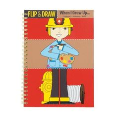 """Mudpuppy When I Grow Up Flip And Draw by Mudpuppy. $8.99. 15 wirebound sheets cut into three strips. Wirebound book measures 8"""" x 5-3/4"""". 10 mix and match characters to color. Printed with nontoxic, soy-based inks. 5 blank sheets of original drawings. From the Manufacturer                Color Deanna Halsall's outlines on horizontal strips, then flip the pages to see the results. Draw and color your own outfits on the blank sheets.                                    Product Descr..."""