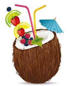 Highly detailed vectors depicting exotic fruits: coconuts and pineapples in very realistic poses and with a high degree of details. Fruit Clipart, Food Clipart, Vector Food, Cocktail Pictures, Pop Art Collage, Coconut Drinks, Swim Party Invitations, Tiki Party, Scented Oils