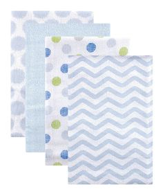 Take a look at this Blue Geometric Flannel Receiving Blanket - Set of Four today!