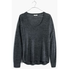Madewell Clothing ($50) ❤ liked on Polyvore featuring tops, hthr ebony, merino wool tops, madewell top and madewell