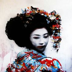 Geisha street art by HUSH,