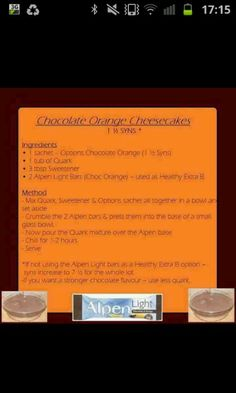 slimming world choc orange cheesecakes