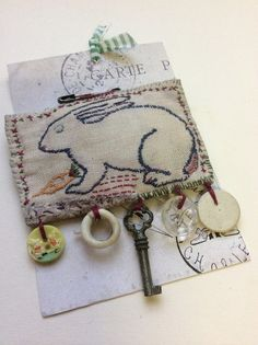 Hand stitched French Bunny Brooch with vintage finds by Jessie Chorley