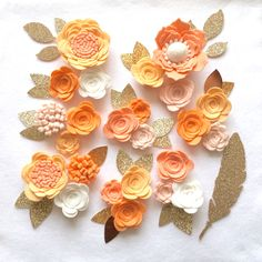 Hand made peach/ivory felt 3d flowers/roses & glitter leaves. Felt flower crown, flower headband, flower garland, baby headband, felt posies by cutzbothways on Etsy