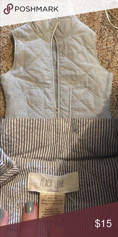 Blue and white pin stripe vest size small Peach love brand pin stripe vest excellent condition Jackets & Coats Vests