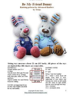 Twins' Knitting Pattern MiniShop: Be-My-Friend Bunny