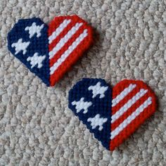 """Plastic Canvas 3 Stars Hearts Magnets set of by ReadySetSewbyEvie, $3.00 -- One star for Courage. One star for Justice. One star for Freedom. Two hearts to say """"thank you"""" to a veteran in your life."""