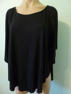 NWT Old Navy Black Poncho Top L Rayon Topper Batwing cold open shoulder Blouse