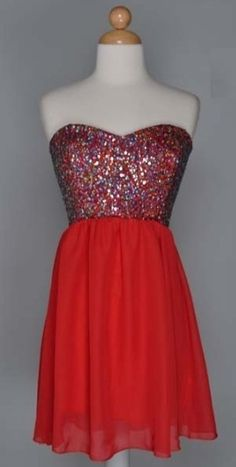 Red Strapless Sweetheart Sequined Dress ($54.99) - New York Trends