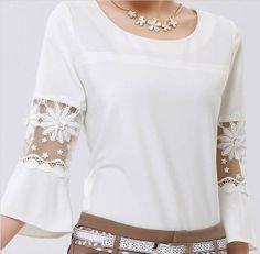 Modern Women Casual Loose Chiffon Shirt Tops 3/4 Sleeve Fashion Blouse T-Shirt                                                                                                                                                                                 More