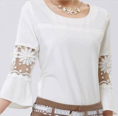 Modern Women Casual Loose Chiffon Shirt Tops 3/4 Sleeve Fashion Blouse T-Shirt