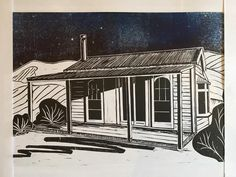 "11 Likes, 1 Comments - Rowena Howey (@rowenahowey) on Instagram: ""Trial of recent linocut of seaside cottage with bright moonlight night sky. Need to sort out a…"""