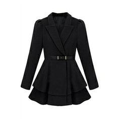 Puff Sleeve Black Coat   pariscoming