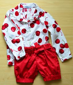 Cherry red shirt with tailored red shorts