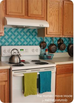 Cross-Hatch Vinyl Tile Backsplash - Positively Splendid {Crafts, Sewing, Recipes and Home Decor} Vinyl Tile Backsplash, Vinyl Tiles, Kitchen Backsplash, Kitchen Cabinets, Backsplash Ideas, Kitchen Decor, Kitchen Design, Diy Kitchen, Kitchen Ideas