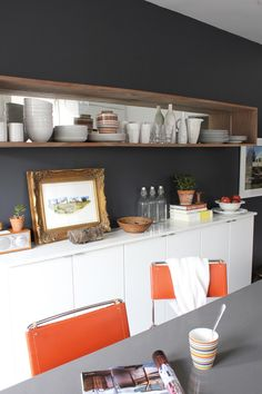 wood kitchen shelf with mirror backing by Emma of Marion House Book