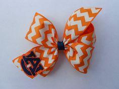 Chevron Auburn Tigers Monogrammed HUGE  Hair bow on Etsy, $6.00