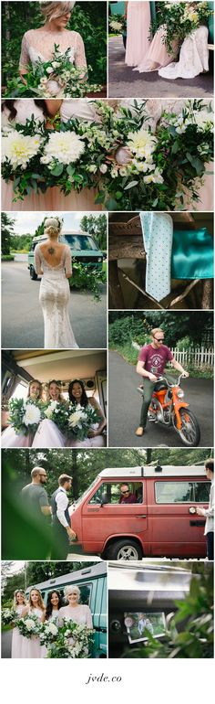 Liz & Tyler's Adventurous Lush Green Teal Blush Volkswagen Bus Van Summer Beautiful Bohemian Wedding Inspiration Summer 2016 Grand Rapids, Michigan     #bohemian #adventure #bohowedding #bohoinspiration #bohobride #vwvan #vwbus #vw #floralinspiration #weddingflorals #yoga