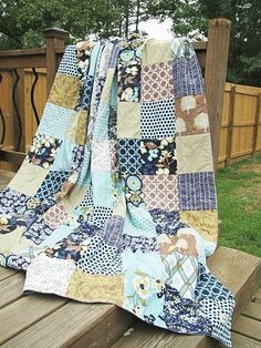 Queen Size Patchwork Quilt,  Modern Meadow in POnd, ALL NATURAL, fresh modern handmade bedding. $339.00, via Etsy.