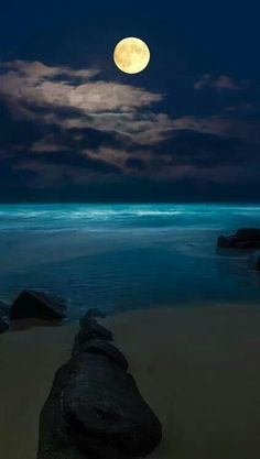 Full moon over ocean