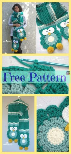 Cute Crocheted Owl Scarf – Free Pattern See other ideas and pictures from the category menu…. Faneks healthy and active life ideas Owl Crochet Patterns, Crochet Designs, Scarf Patterns, Crochet Scarves, Crochet Yarn, Crochet Pouch, Crochet Beanie, Crochet Gifts, Cute Crochet