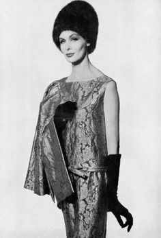 Jennifer Hocking in silver lamé print dress and jacket by Christian Dior, photo by Tom Kublin, 1960