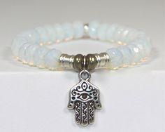 Tiffany Jazelle White Opal Semi-Precious Stone bracelet with Hand of God Charm