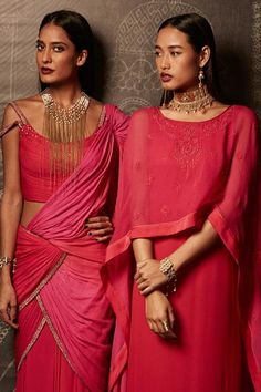 Choker on the right model... gorgeous Gorgeous #Fuchsia Sarees & Kurtas from @Tarun_Tahiliani | http://www.TarunTahiliani.com/ latest 2014 Collection