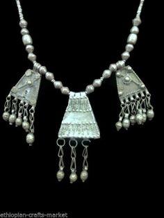 "Vintage Ethiopian Tribal Necklace with 3 Amulets/Pendants (19.5"")"