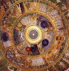 Cupola of the Ascension 1210 Basilica di San Marco, Venice King Solomon Seals, Saint Mark's Basilica, Byzantine Architecture, Solomons Seal, Artist Gallery, Mandala Art, Beautiful Architecture, Sacred Geometry, Catholic Art